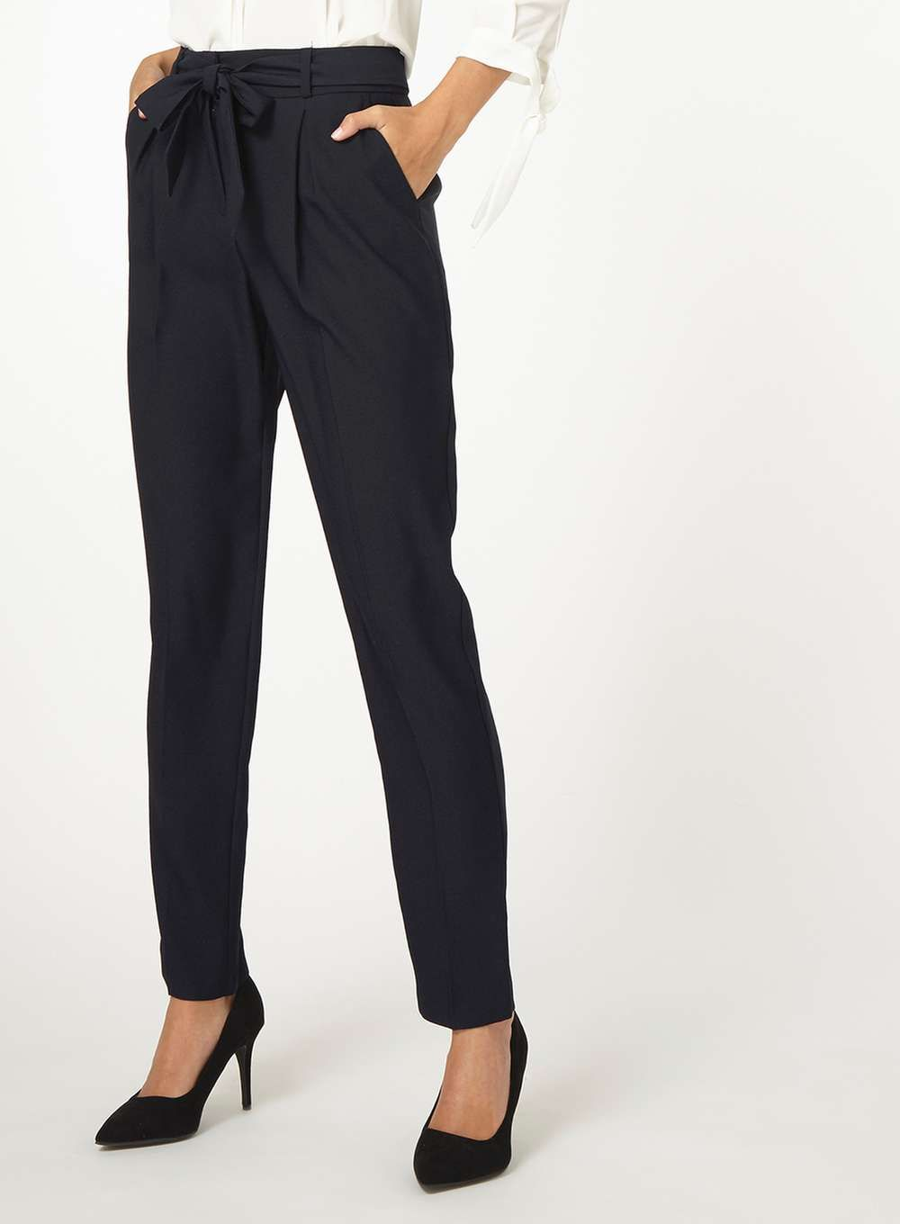bad950b11a75 Womens **Tall Black Tapered Trousers- Blue