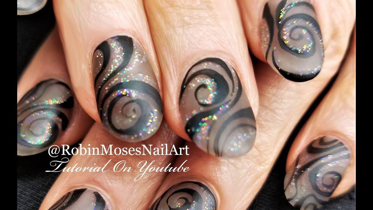 Matte Black Swirl Nails Elegant Holo Hand Painted Nail Art Design
