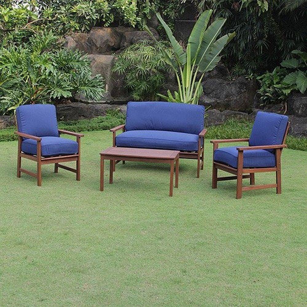4-Piece Wood Patio Conversation Set Light Finish Seats ...