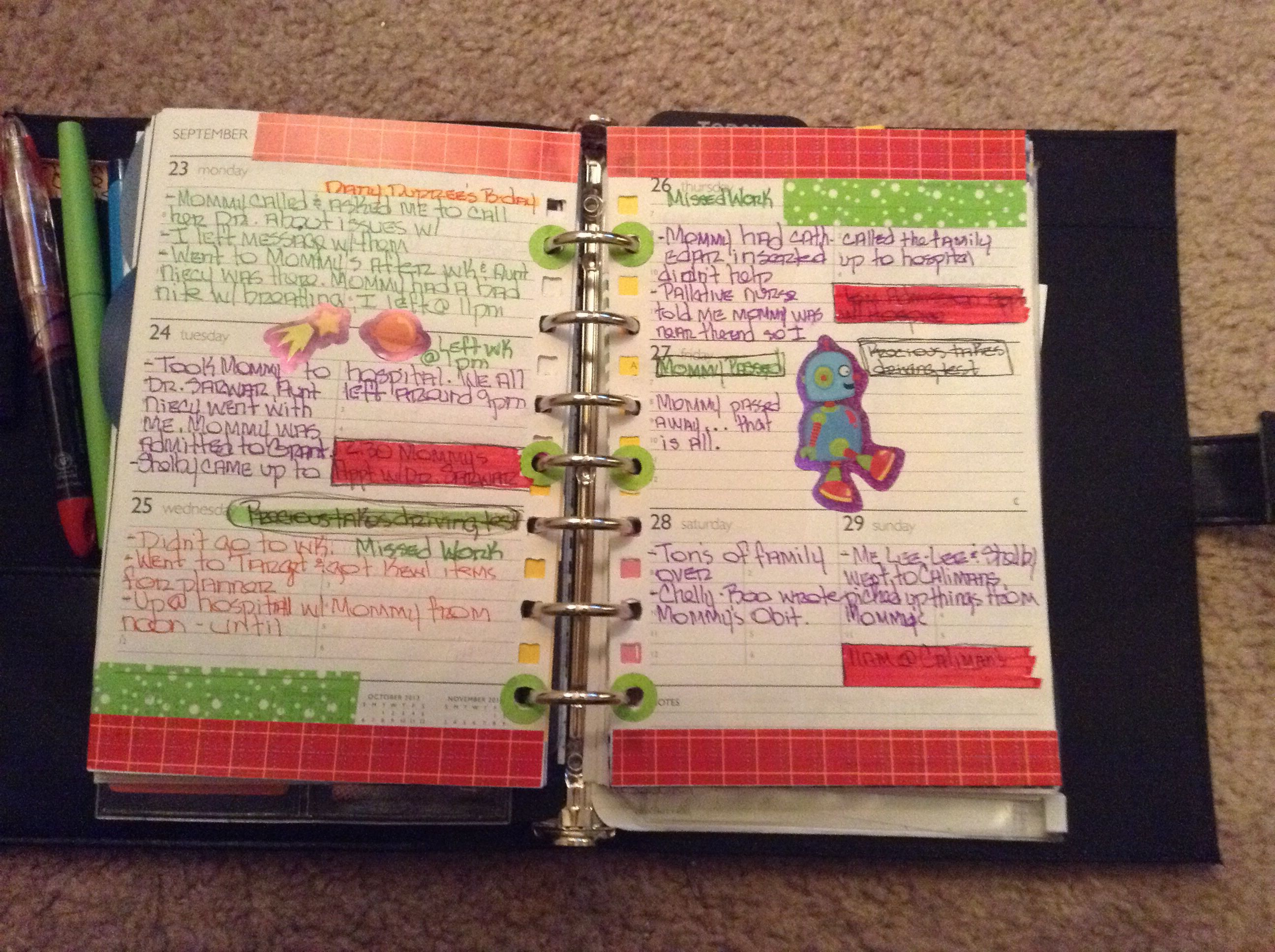 Pages In My Daytimer  PlannersJournals    Planners