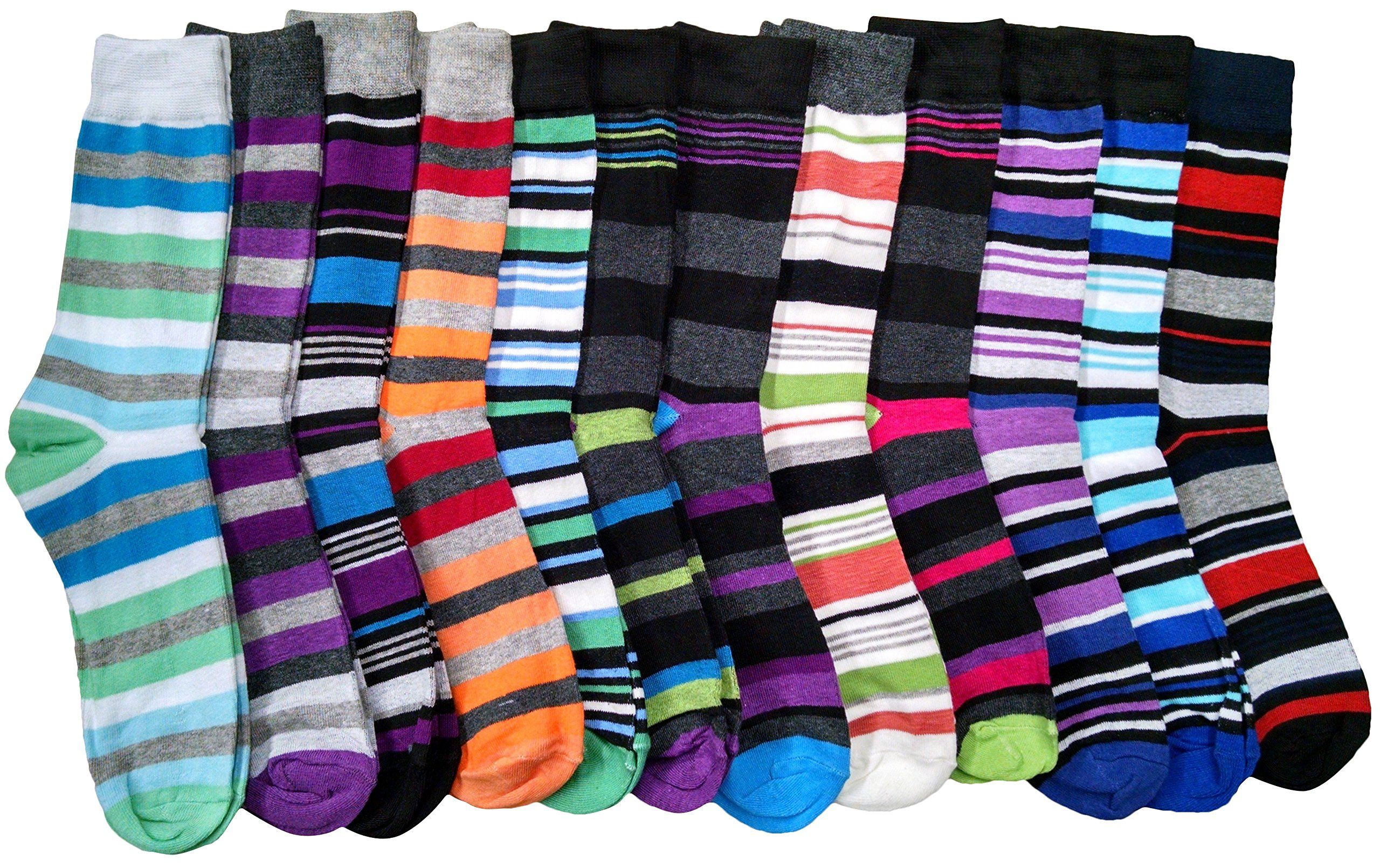 975907f8e7b7 12 Pairs of excell Mens Striped Colorful Dress Socks, Cotton Blend, Sock  Size 10-13 at Amazon Men's Clothing store: