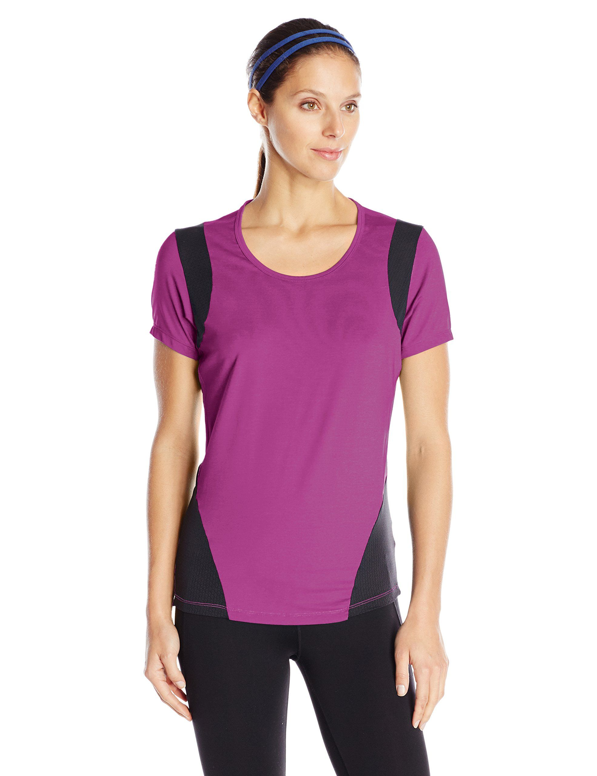 Skirt Sports Women's Peek-A-Boo Tee, Razz, Large. Mesh paneling: 88% nylon/12% spandex open mesh. Semi-fitted. Mesh paneling for ventilation. Wide scoop neck. Slimming design lines.