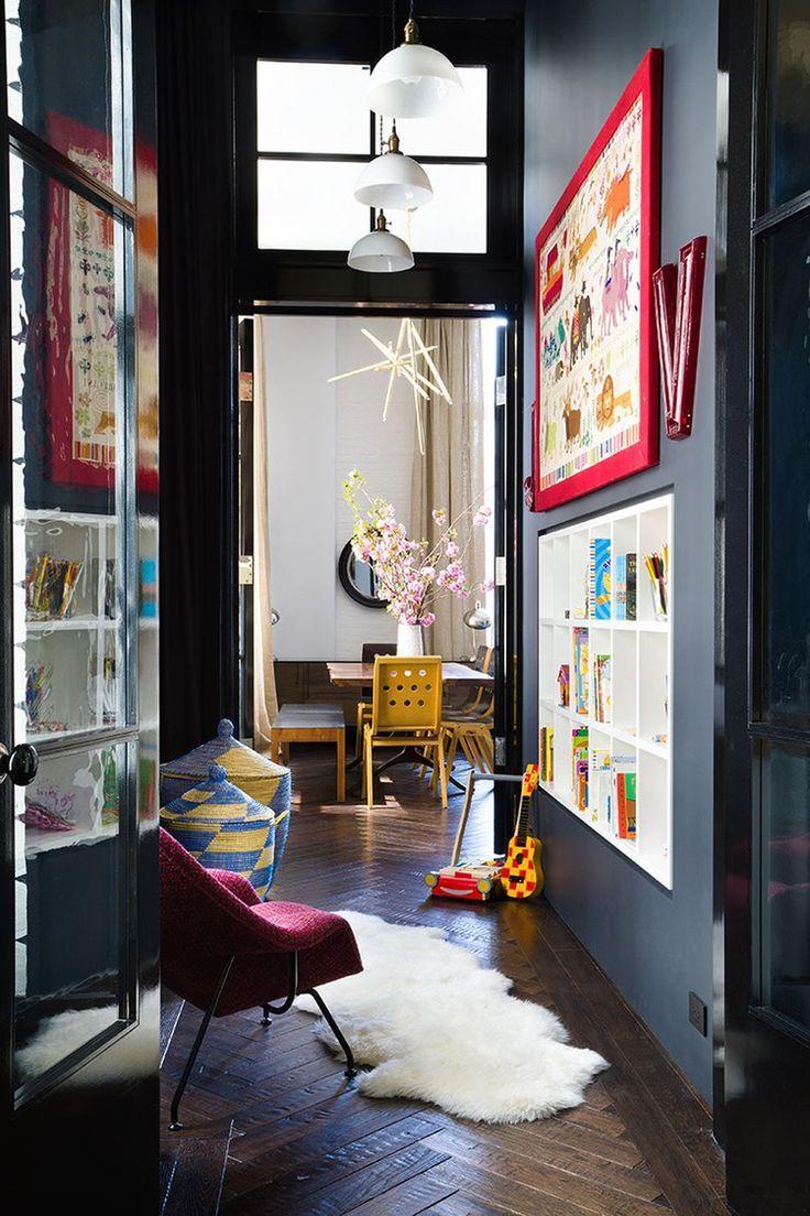 Narrow hallway colours  HALLWAYS IN TECHNICOLOUR  Dark walls Shelves and Photo wall