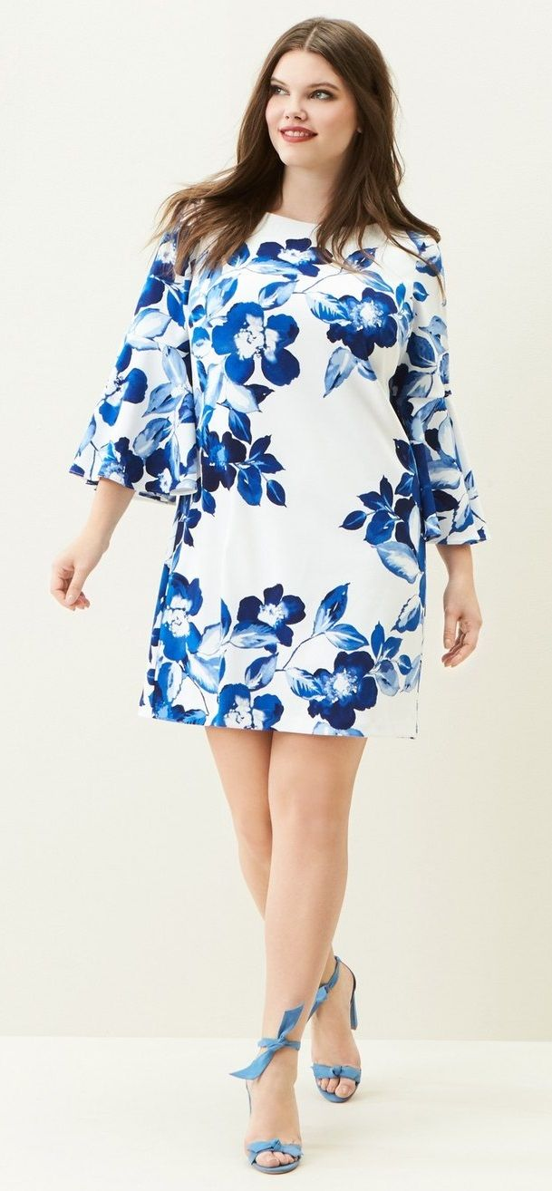 Plus Size Floral Bell Sleeve Shift Dress Plus Size Fashion
