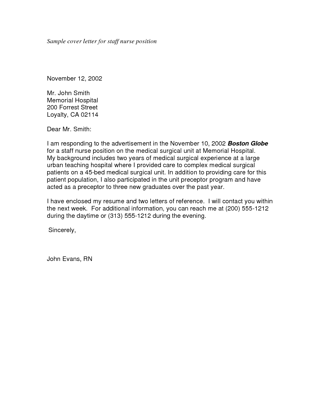 Nursing Cover Letter Samples | Sample Cover Letter For Staff Nurse Position  November Mr