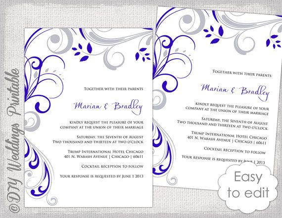 Wedding Invitation Template Silver Gray And Royal Blue Scroll