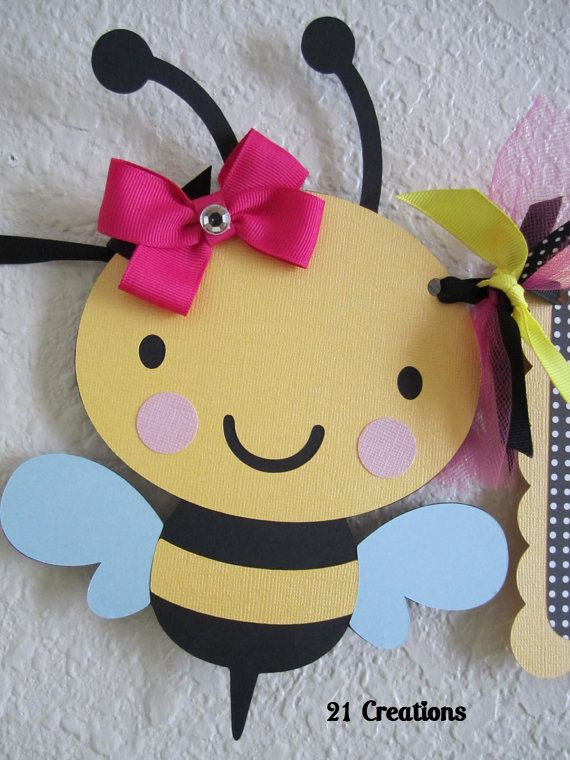 bumble bee birthday banner bienen basteln aus papier. Black Bedroom Furniture Sets. Home Design Ideas