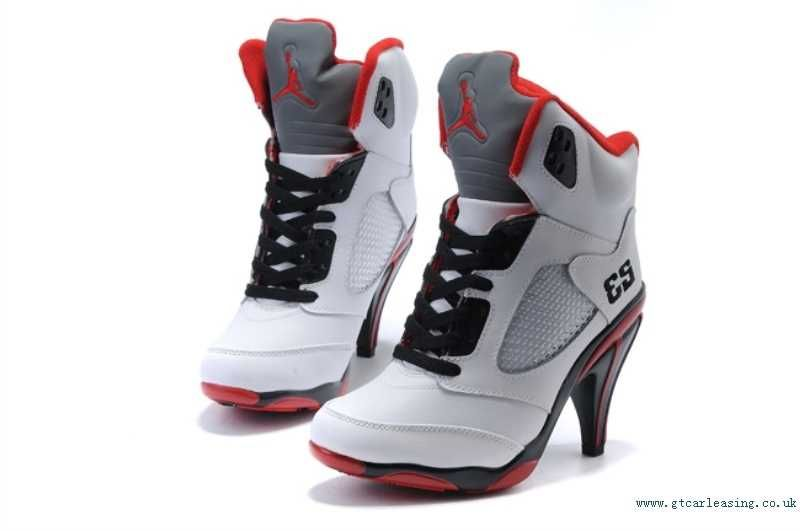 Discount Authentic Womens Nike Air Jordan 5 High Heels Shoes White/Black/Red