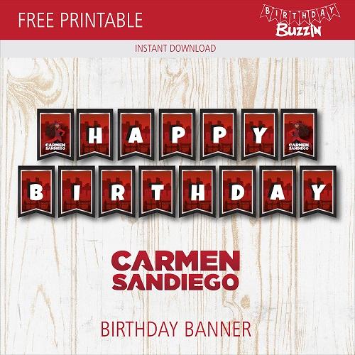 Free Printable Carmen Sandiego Birthday Banner | Carmen ...