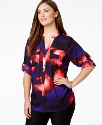 Calvin Klein Plus Size Abstract-Print Button-Front Shirt-$79.50