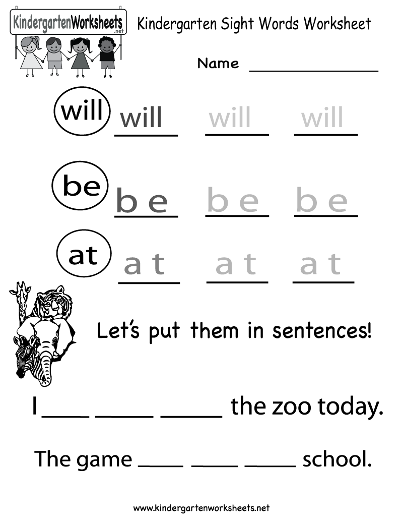 Worksheets Sight Words Worksheets Free kindergarten sight words worksheet printable worksheets legacy free english for kids