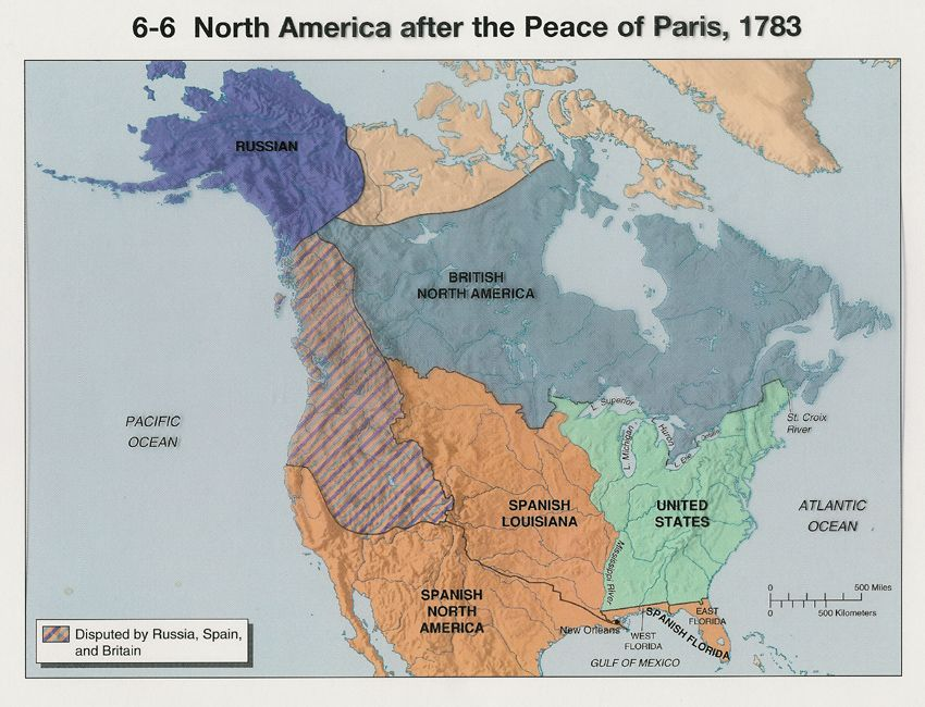 North American Territorial Distribution After The Peace Of Paris - Map of us after revolutionary war