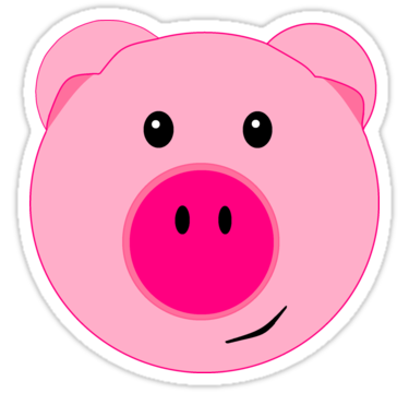 Cute Pink Pig Face Quot Stickers By Beachbumfamily Redbubble Pig Face Face Stickers Pig Cartoon