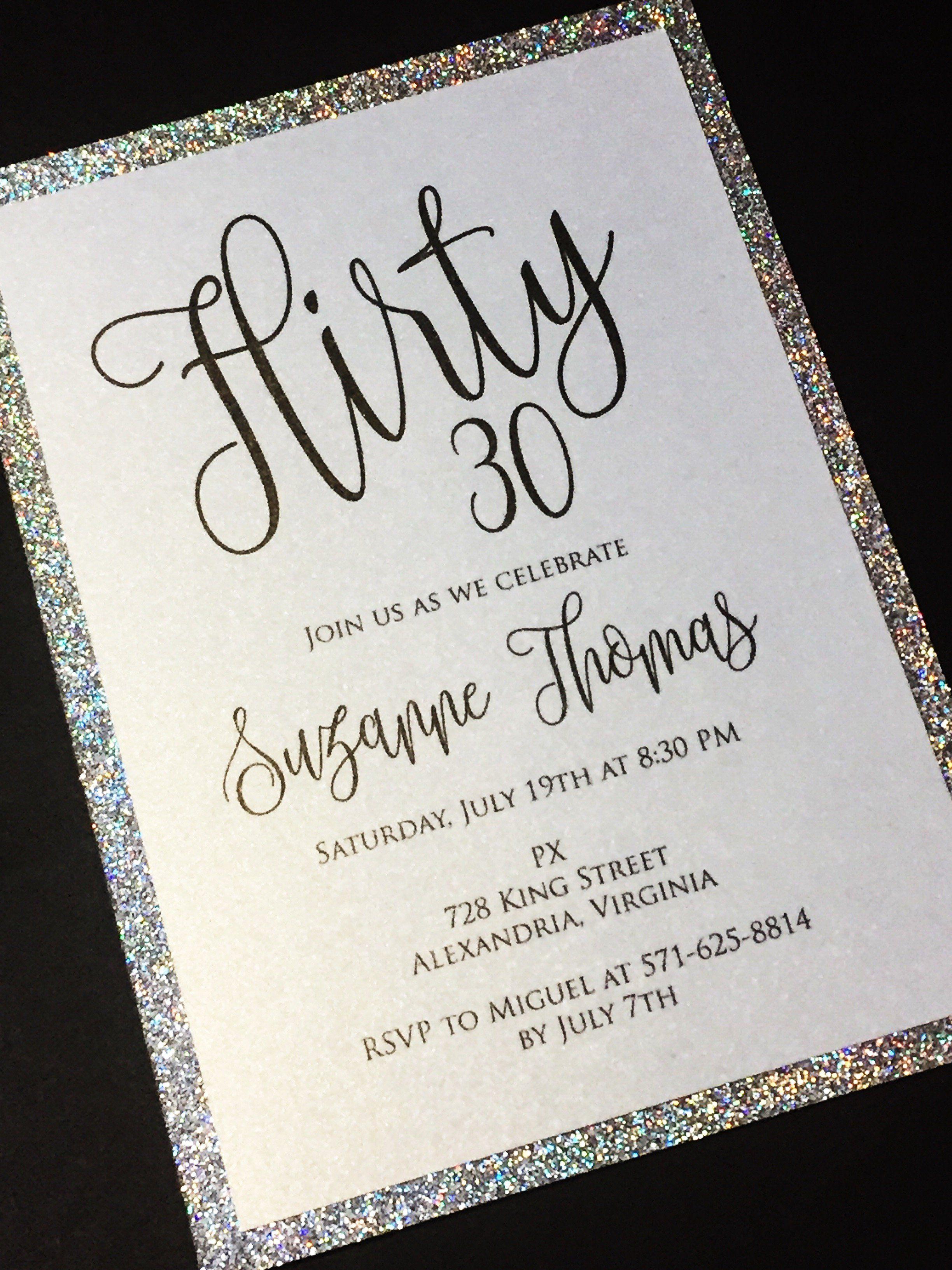30th Birthday Invitation - Glitter Thirtieth Birthday Invitations ...