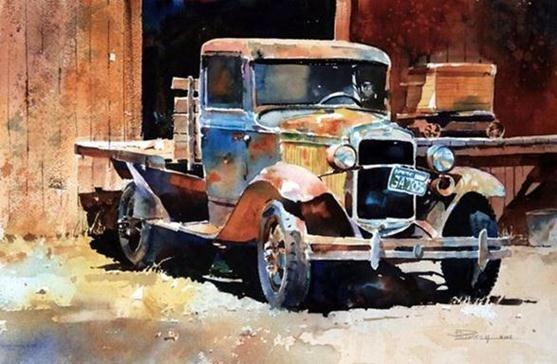 Carl Purcell is a creative watercolor artist. His paintings are known for beautiful themes and colors. He is interested in painting rock surfaces and cars.