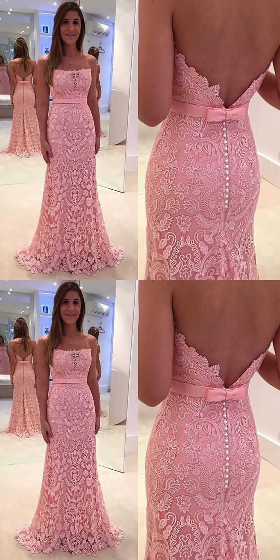 Strapless Lace Prom Dresses,Mermaid Prom Dress 2018,Backless Evening ...