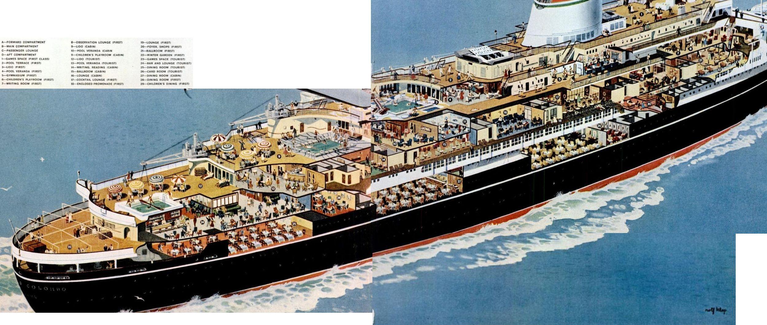 OceanlinerCristoforoColumboCutawayjpg Ships - Columbo cruise ship