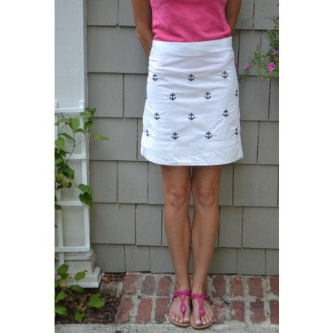 Cocktail Skirt in Memorial White with Anchor by Castaway Clothing