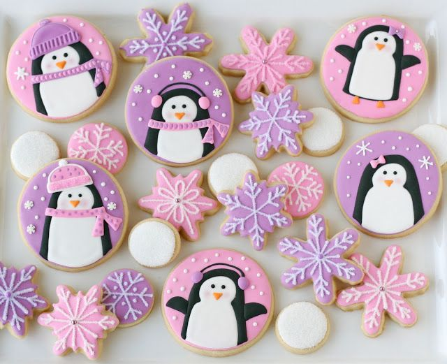 Pink and Purple Penguin Cookies - Glorious Treats