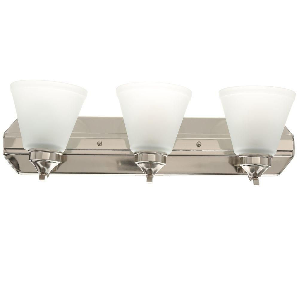 Hampton Bay 3-Light Brushed Nickel Vanity Light with Frosted Shades ...