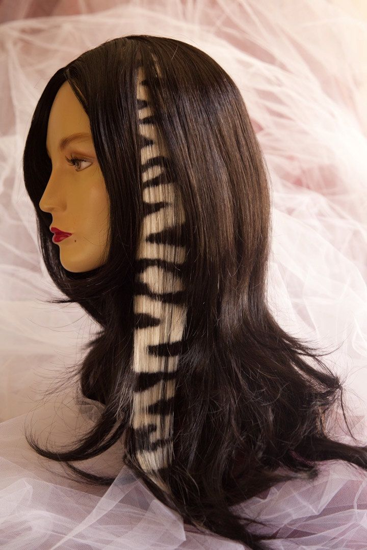 Zebra Print Hair Extensions 20inch by hairclipsbytiph