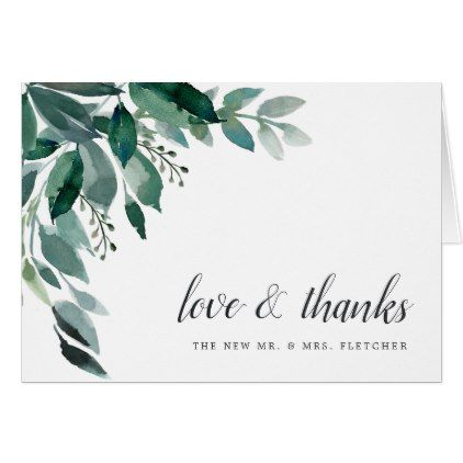 Abundant Foliage Wedding Thank You Card Card Wedding Wedding And