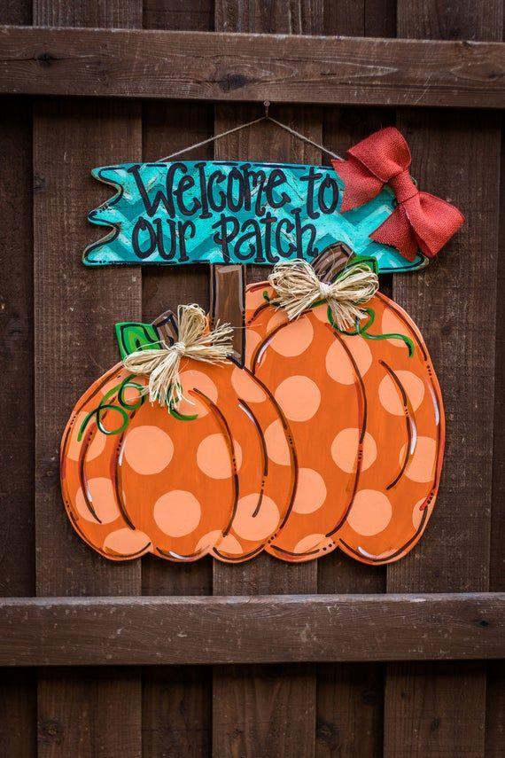 Welcome Pumpkin Door Hanger Thanksgiving door hanger autumn | Etsy