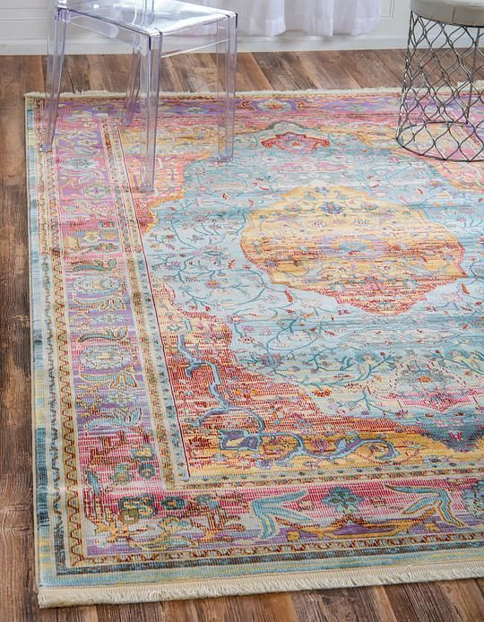 200 For 8 5 X 10 Light Blue Havana Area Rug With Images Pink
