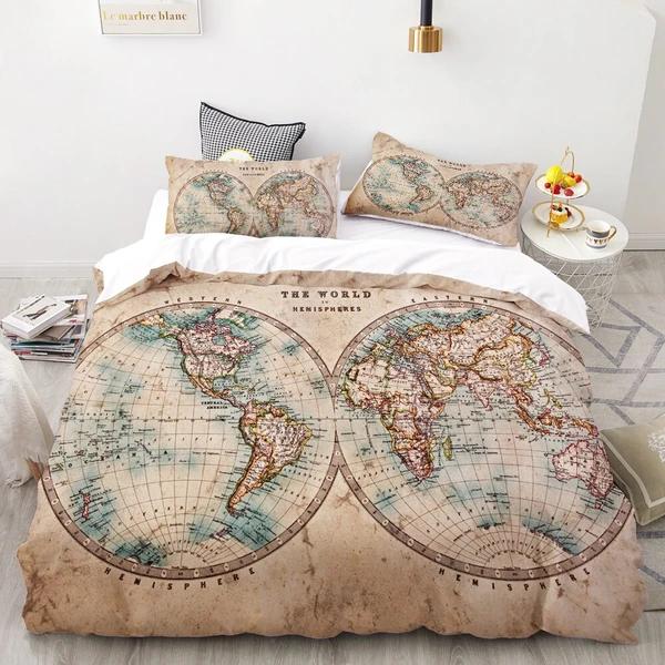 Luxury Bedding Set King Europe Queen Custom 3d Duvet Cover Set Quilt Blanket Cover Set Bedclothes World Map Bed Set Map Bedding Bedding Set Duvet Cover Sets