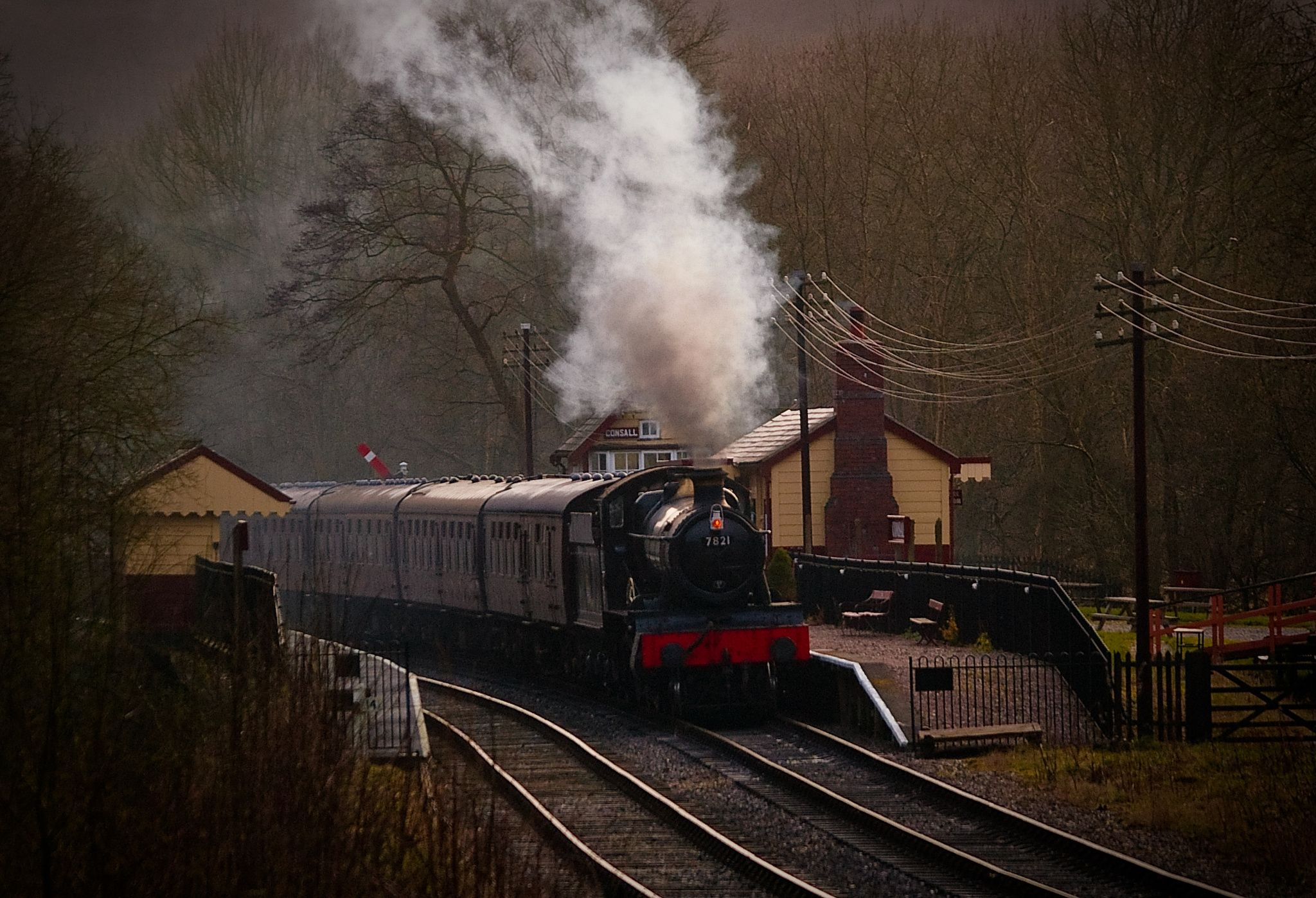 Last Departure from Consall - Late Afternoon shot of Steam Engine 7621 leaving Consall Station in the Staffordshire Moorlands.