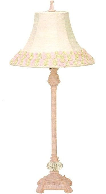 Pink Scroll Lamp With And Green Flower Border Shade