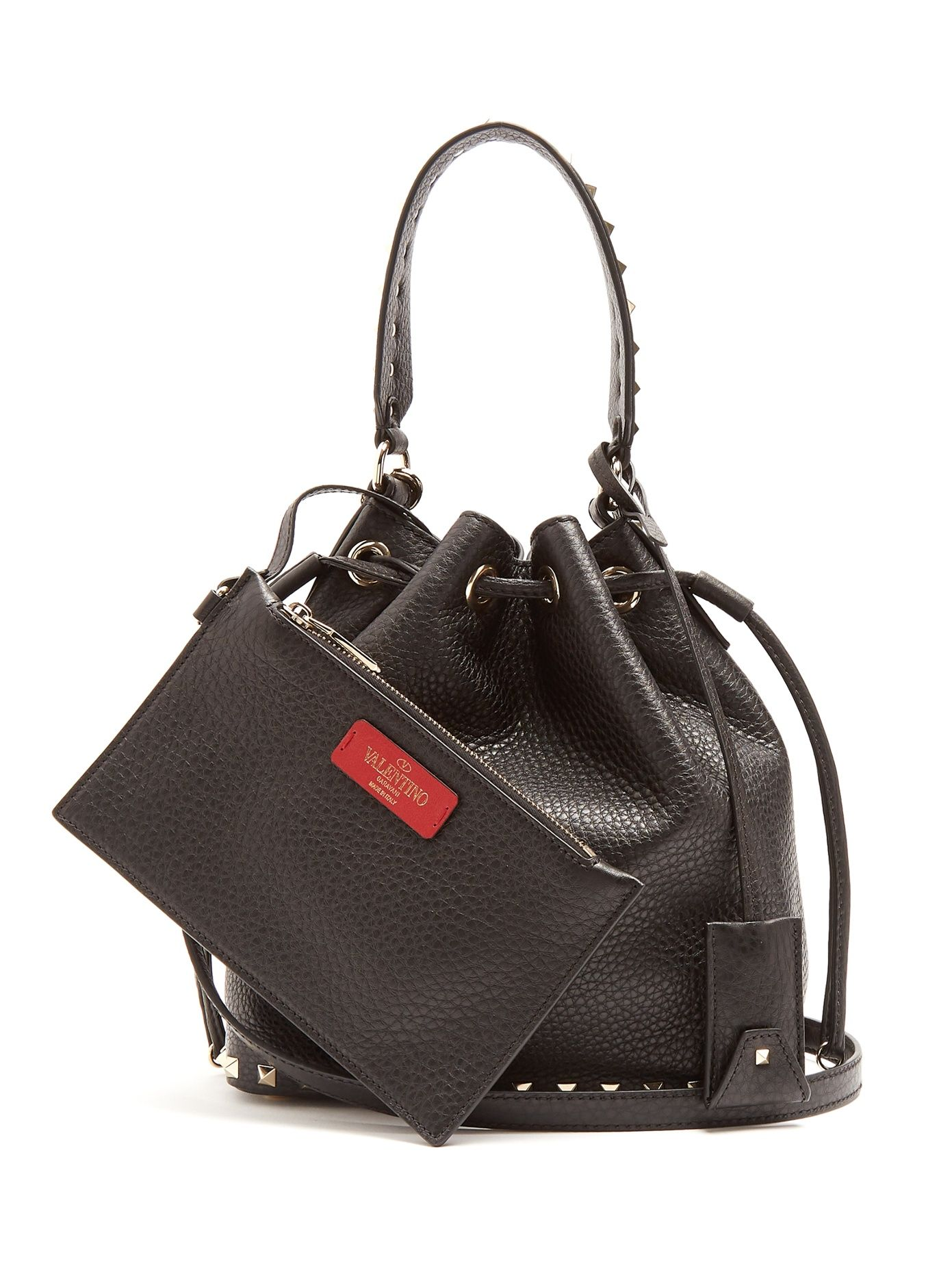f1deb7a949 Click here to buy Valentino Rockstud bucket grained-leather cross-body bag  at MATCHESFASHION.COM