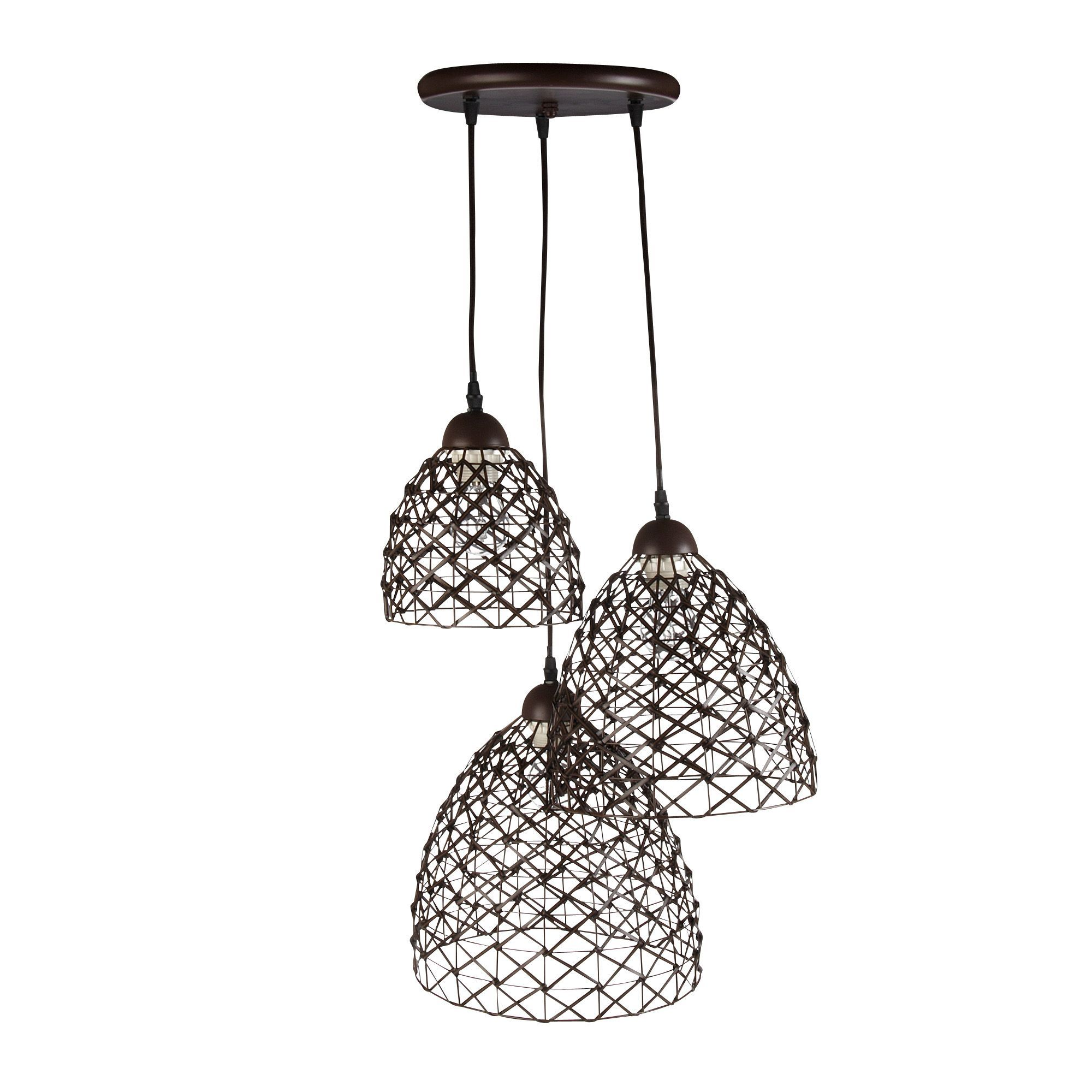 Suspension 3 lumi res chocolat chocolat naty les for Luminaire suspension salon