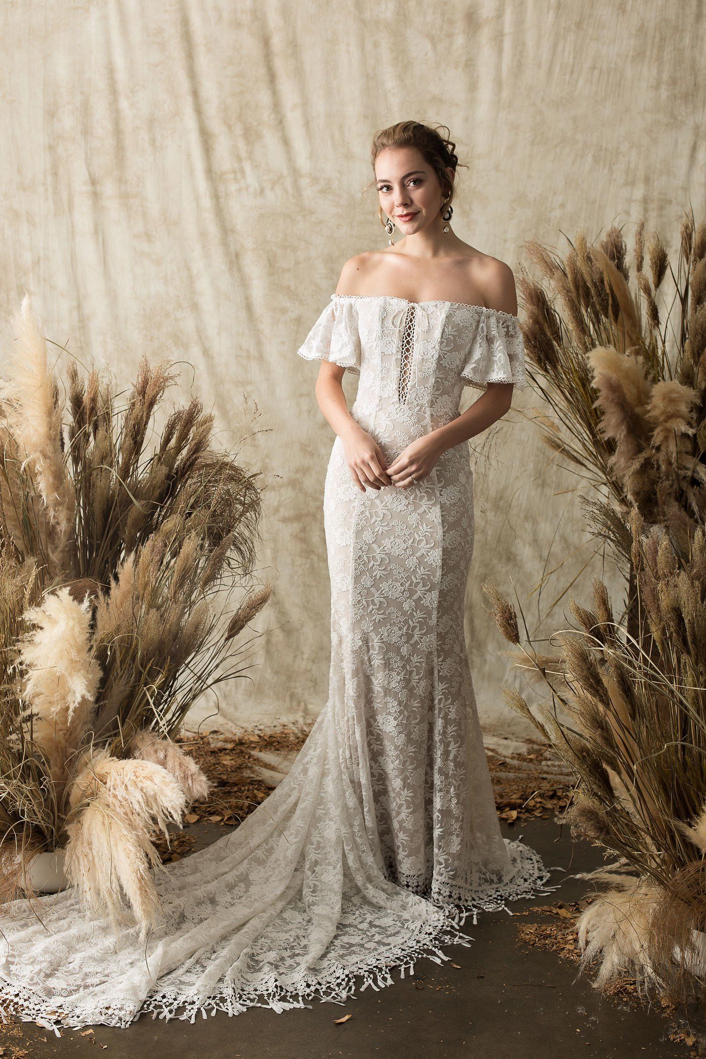 9476ef9df2d Callista Off-Shoulder Wedding Dress in 2019