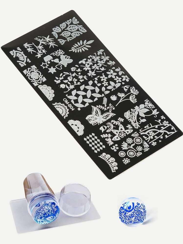 Nail Art Stamping Scraper Plate Tool Set 3pack ROMWE in
