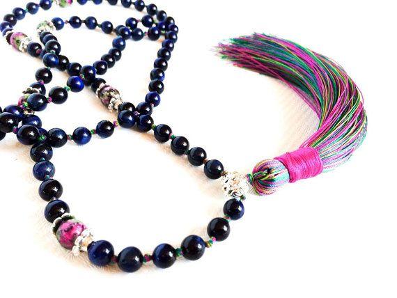 Boho Jewelry Tassel Necklace Long Beaded by EmmaRuthJewelryCo