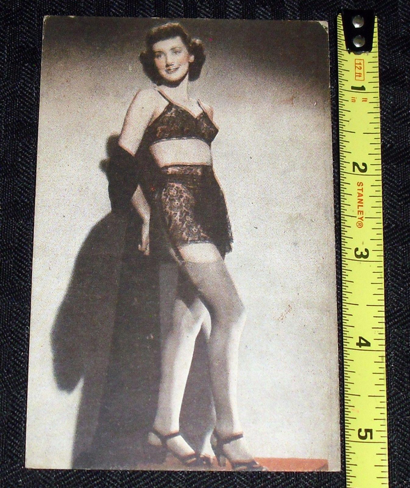 1930s/40s vintage original pin-up girl card *stockings/garter/bra ...