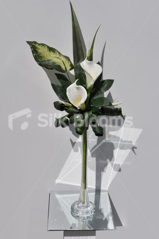 Classic Artificial Ivory Calla Lily Floral Table Arrangement W Tall