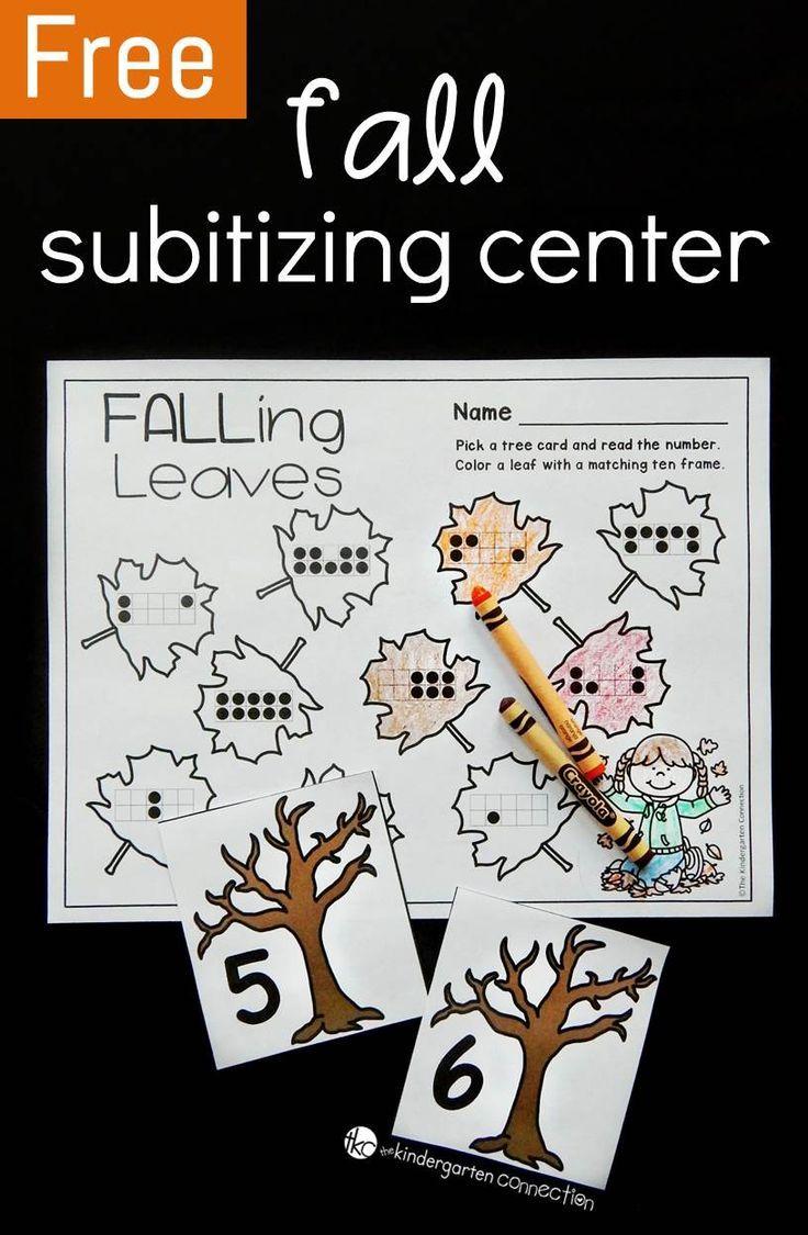 Fall Subitizing Math Center for Kindergarten   Kind
