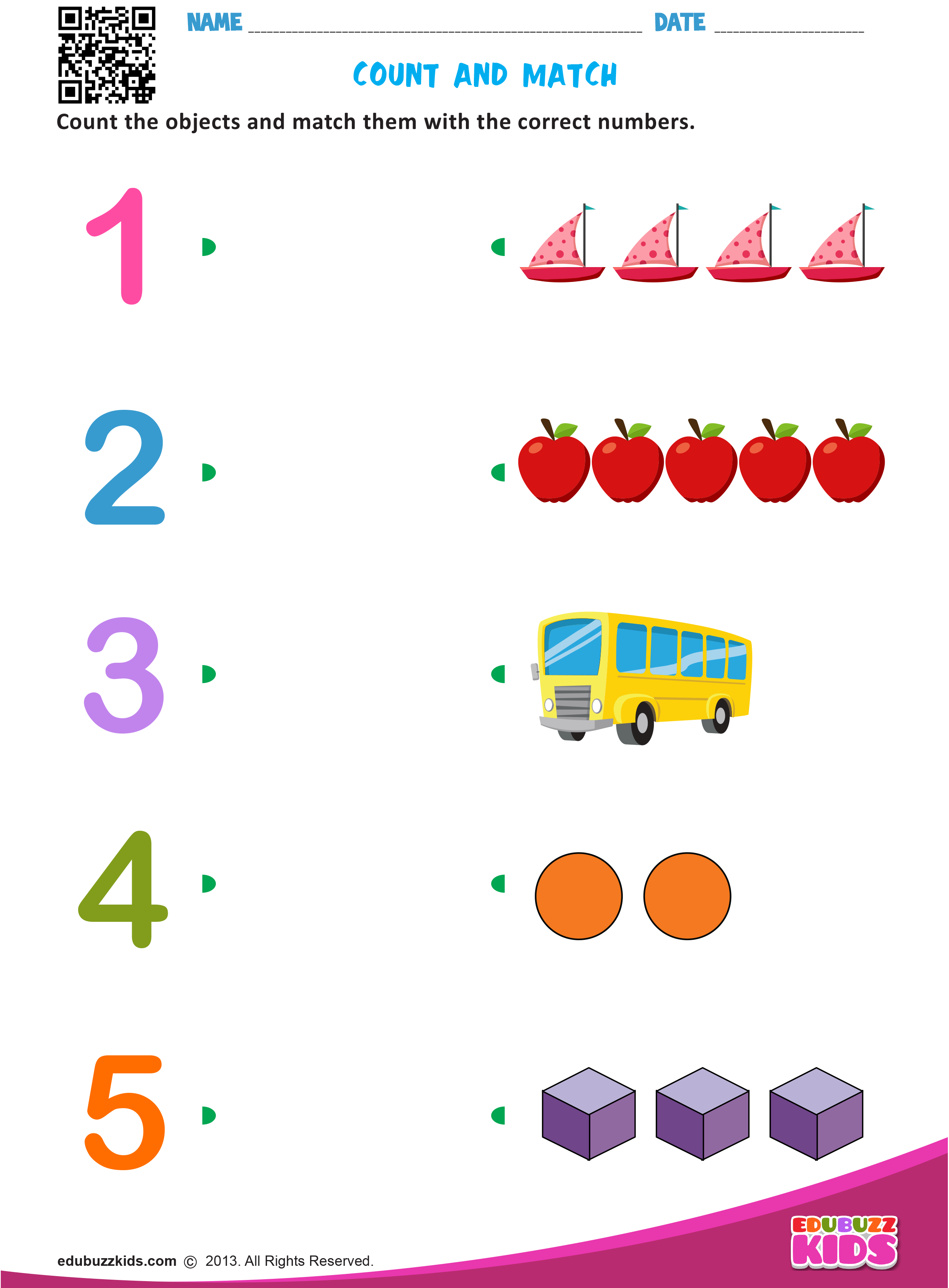 Free maths match numbers #worksheets for preschool with printable ...