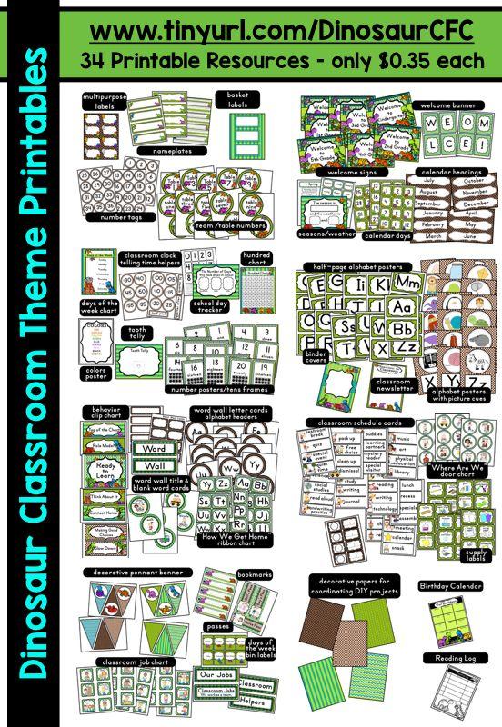 Dinosaur Themed Classroom - Ideas  Printable Classroom Decorations