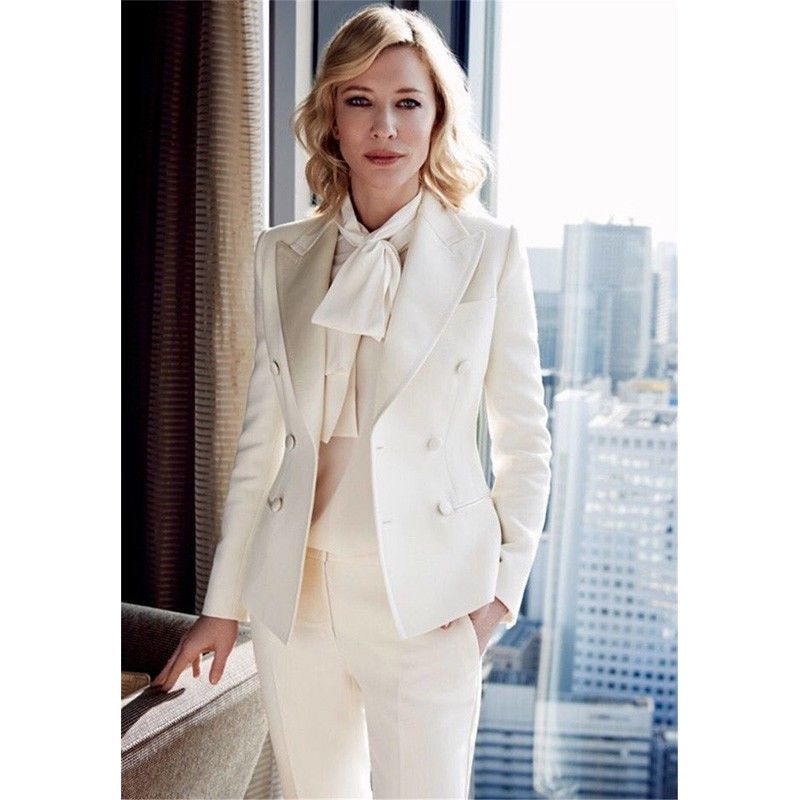 Ivory Womens Trouser Suit Formal Ladies Business Office Work Suits Female Blazer Pantsuits For Women Work Outfits Women Classy Outfits