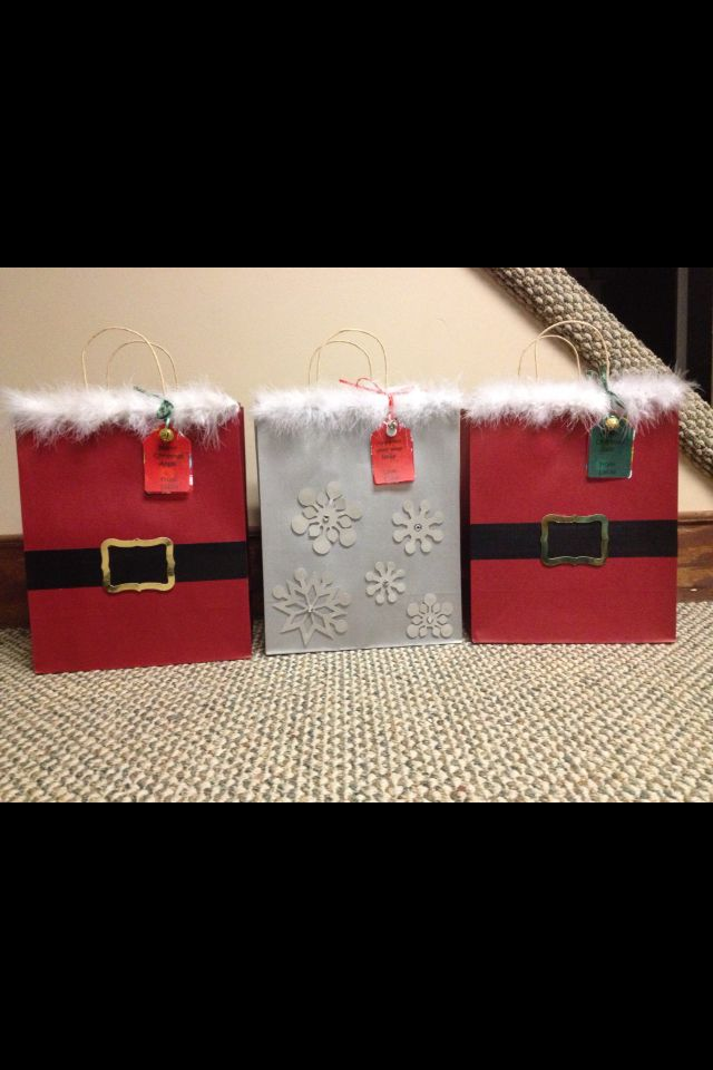 Goody bags for my son's 3rd grade class.   Santa bags for most an one child who does not celebrate got a snowflake bag! Christmas 2012