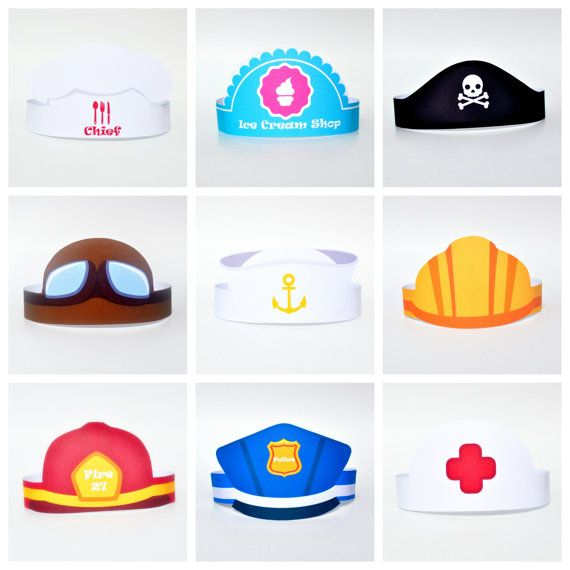 Paper Hats Set 10 Images Characters And Professions Diy Etsy Paper Hat Craft Activities For Kids Paper Hats For Kids