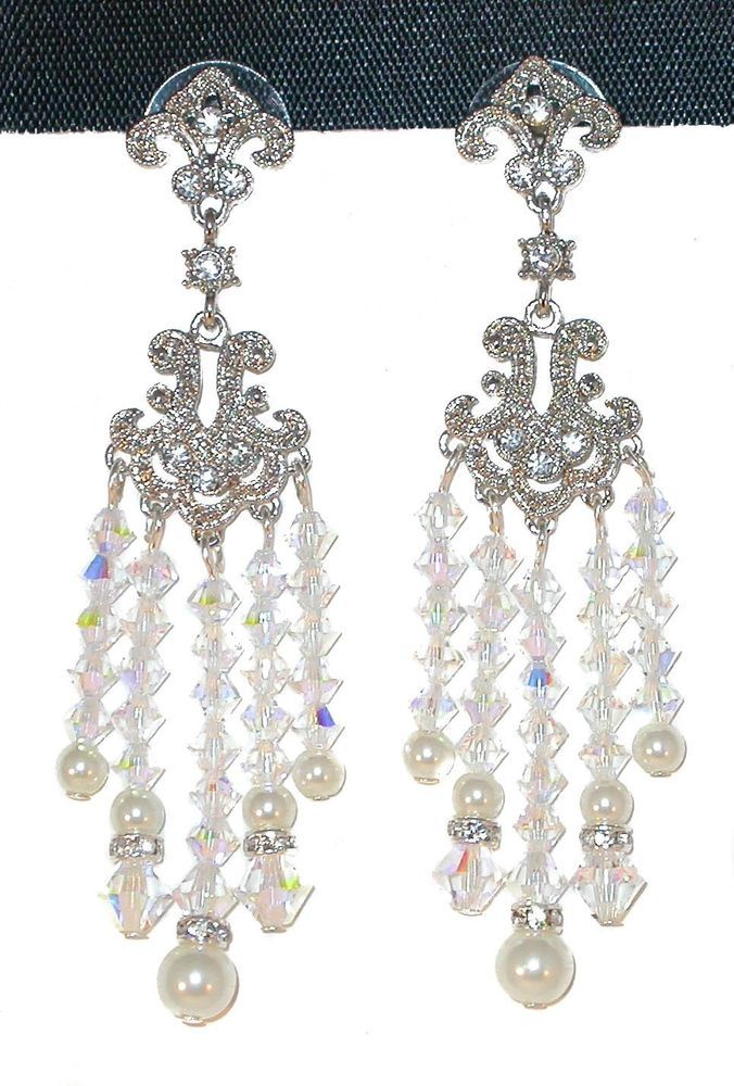 "Handcrafted SWAROVSKI CRYSTAL & PEARL Bridal 3"" Long Chandelier EARRINGS #CharminglyYoursJewelry #Chandelier"