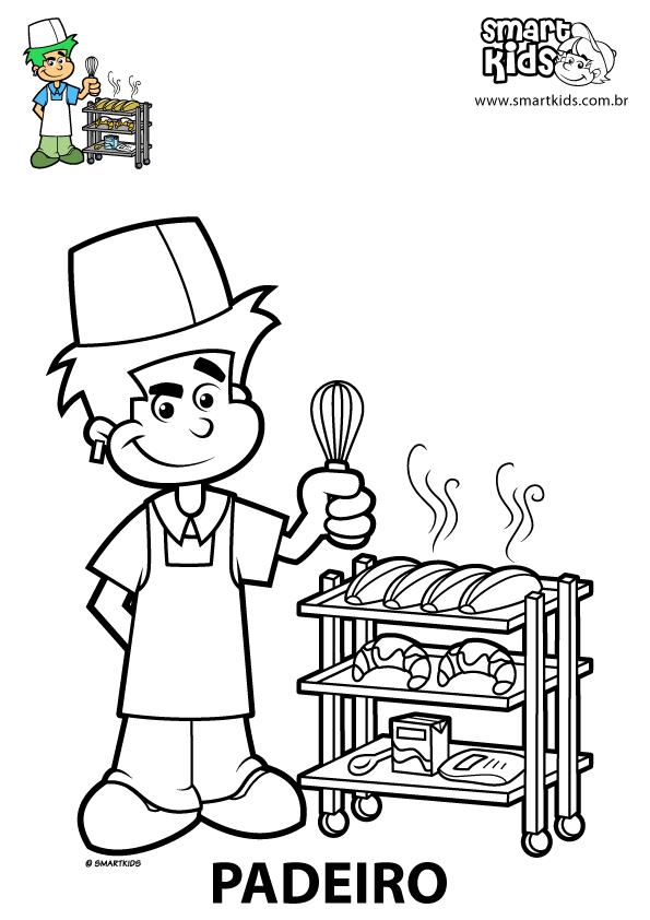 Desenhos para Colorir Profissões Padeiro - Smartkids | Autismo ...
