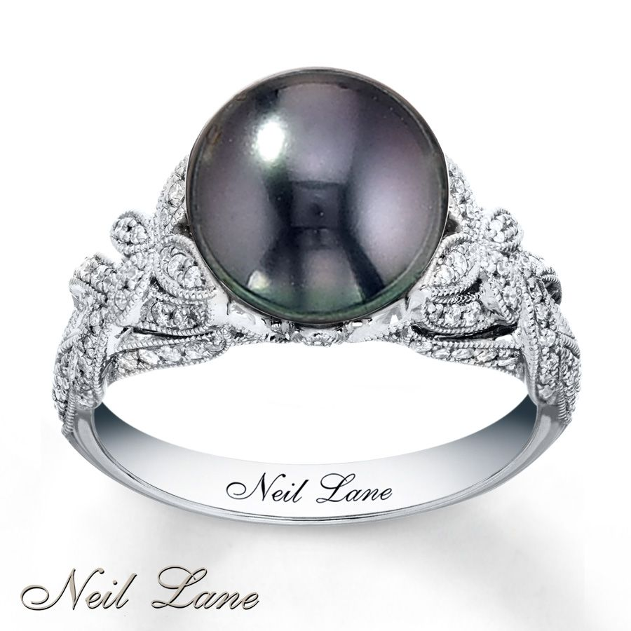 Black Pearl Engagement Rings #pearljewelry