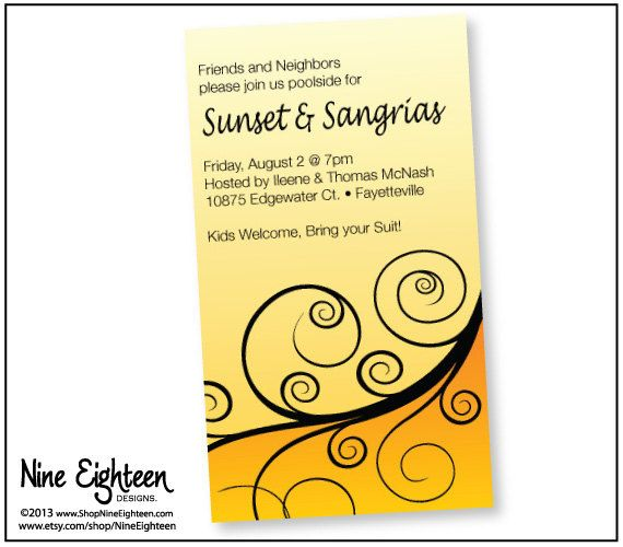 Sangria Wedding Invitations: Sunset & Sangria's, Pool Party Invitation From Etsy