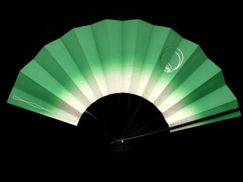 Japanese Dance Fan Mai Ogi Green White in Hand Fan (F175) Gold Pine Family Crest and Silver Leaf