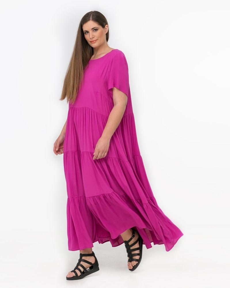 af7ca84cf27f Φόρεμα με tulle υφή και βολάν στο τελείωμα — mat. XXL sizes — Γυναικεία  Ρούχα